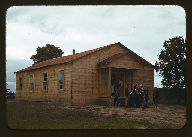 Church at Pie Town, New Mexico. This building was a cooperative community enterprise