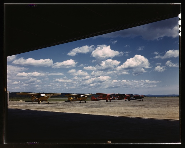 Civil Air Patrol Base, Bar Harbor, Maine. Flying field from the hangar. Coastal Patrol #20
