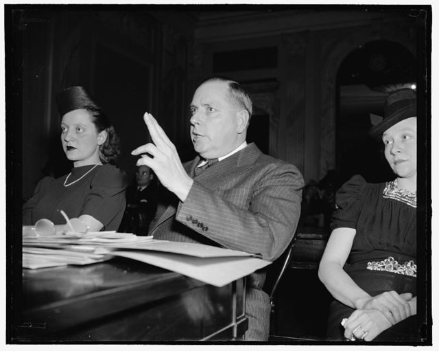 Civil Service hearing. Mrs. Josephine Smithers, who was made center of a storm of protests over her raise from $1740 to $2300 yearly, and Jessie Donaldson, Director of Personnel of the Post Office Department who backed the raise. 3-29-39