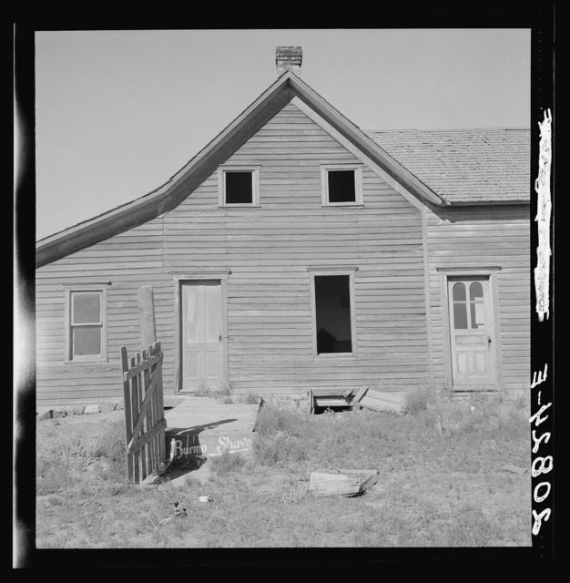 Close-up view of abandoned dry land farmhouse in Columbia Basin. Washington, Grant County, one mile east of Quincy. See general caption number 35