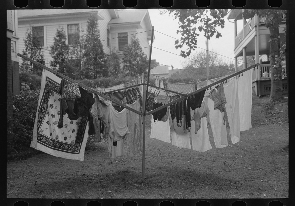 Clothes hanging on drying tree in backyard, Meriden, Connecticut