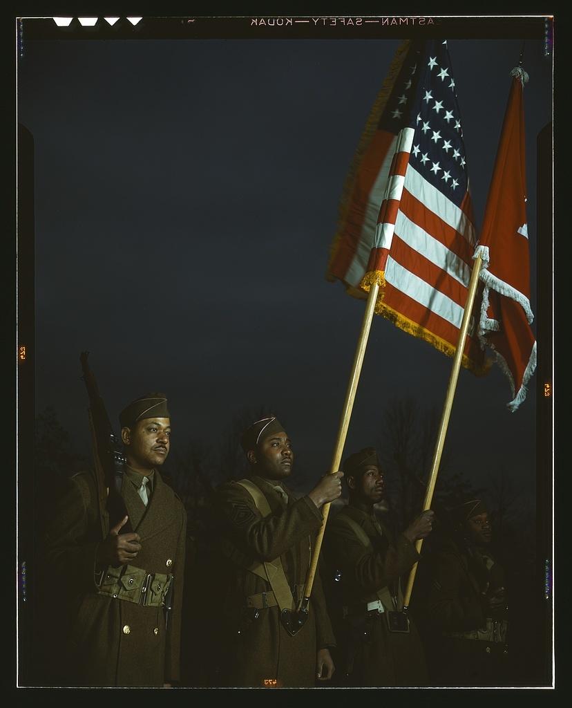Color guard of Negro engineers, Ft. Belvoir(?), [Va.]