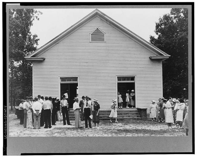 Congregation gathers after services to talk. Wheeley's Church, Person County, North Carolina