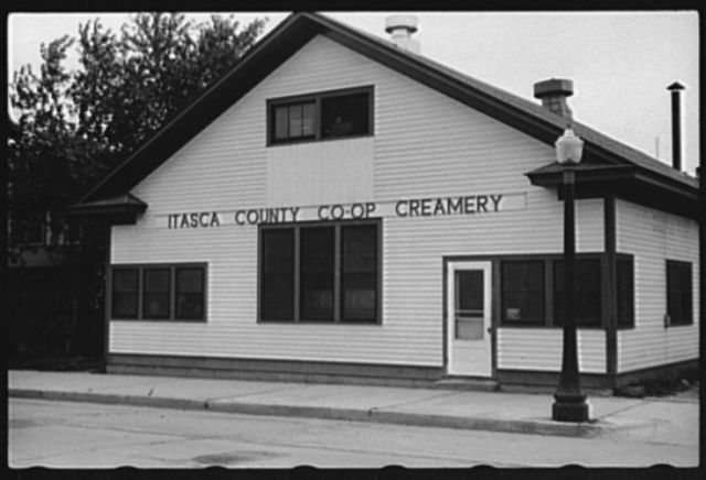 Coop creamery which has received loan from the FSA (Farm Security Administration), Coleraine, Minnesota