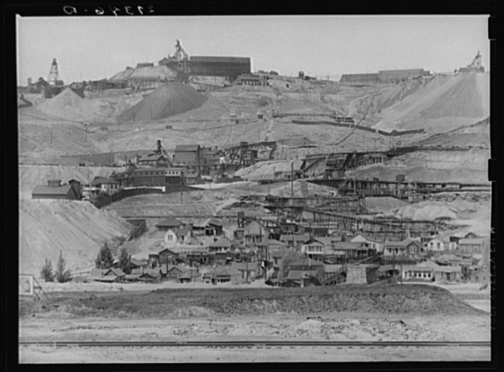 Copper mine and miner's homes. Meaderville, Montana