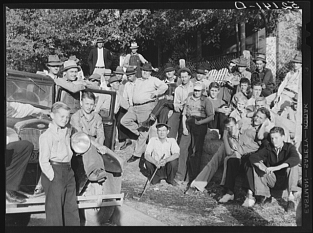 Copper miners on strike waiting for scabs to come out of mines. Ducktown, Tennessee