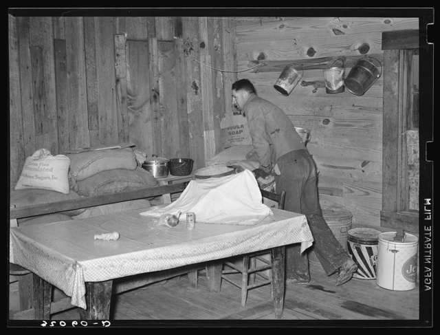 Corner of kitchen of tenant farmer living in Merigold, Mississippi. Background photo, Sunflower Plantation