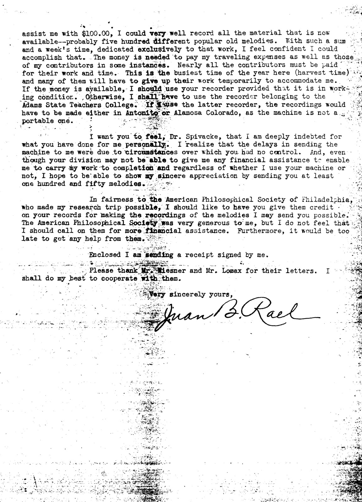Correspondence to and from Juan B. Rael, Harold Spivacke, Alan Lomax, and Jerome B. Wiesner