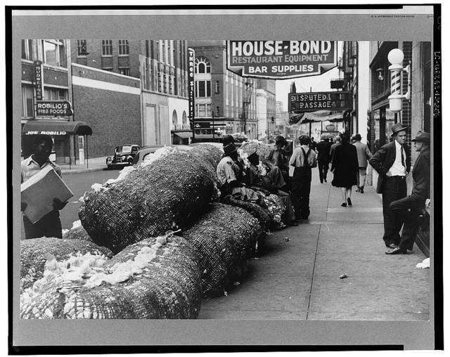 Cotton snakes (waste cotton) on Cotton Row, Front Street, Memphis, Tennessee