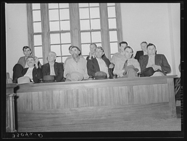 County commissioners at mass meeting. San Augustine, Texas