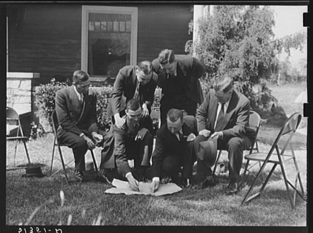 County, state and regional FSA (Farm Security Administration) officials: R.L. Vansant, state Farm Security Administration director; T.H. McGibbony,  chairman, County Commission; F.T. Corry, county School Superintendent; Francis Bowen 2nd, county agent E.H. Dows, assistant farm superintendent, Farm Security Administration; R.B. Weil, farmer and chairman, County Commission. FSA planning further work in Greene County, Georgia. At Crawfordville, NYA (National Youth Administration) headquarters