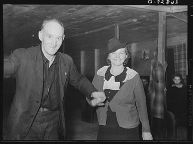 Couple dancing in Oke-Doke dance hall. Williamson County, Illinois