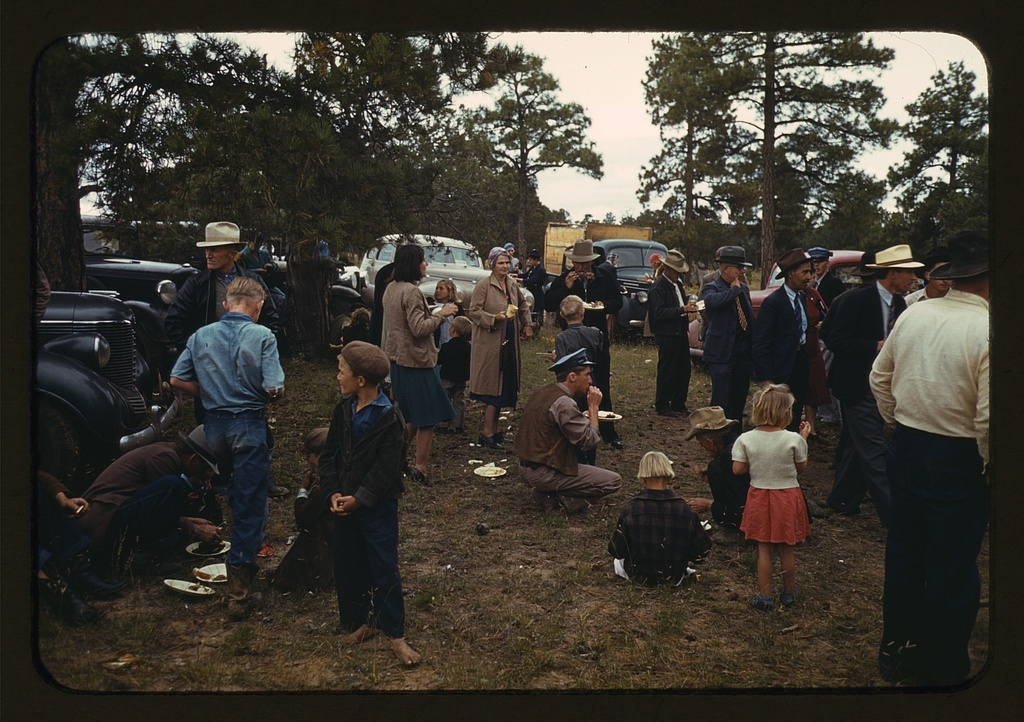 Crowd eating free barbeque dinner at the Pie Town, New Mexico Fair