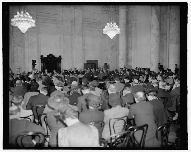 Crowd jams Senate hearing room to hear former Secretary of State criticize Neutrality Act. Washington, D.C., April 5. Before a well packed hearing room today former Secretary of State Henry L. Stimson warned the Senate Foreign Relations Committee that the present Neutrality Act is an instrument which may make the United States the next victim of attack. He was the first witness on a half a dozen proposals to revise or repeal the present Neutrality Act. 4-5-39
