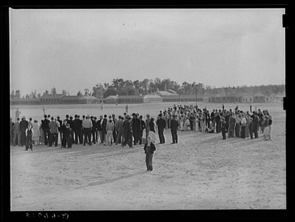 Crowd watching baseball game after May Day-Health Day festivities of Ashwood Plantations, South Carolina