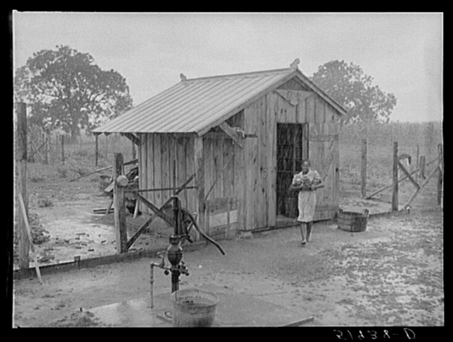 Daughter of Frederick Oliver, tenant purchase client, bringing canned goods in from smokehouse. Summerton, South Carolina