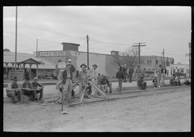 Day laborers waiting to be assigned to work, Raymondville, Texas