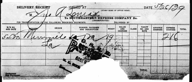 Delivery receipt for John A. Lomax
