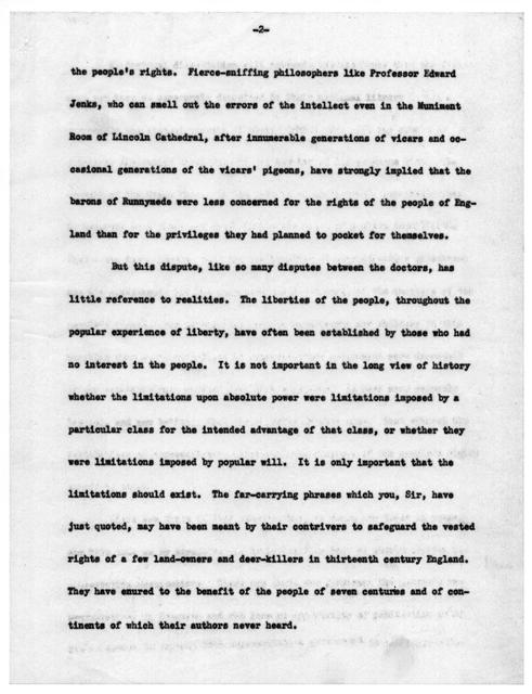 """Deposit of the Magna Carta,"" by Archibald MacLeish, November 28, 1939"