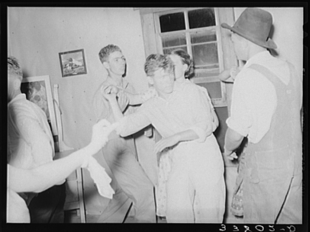 Detail of square dance in hills near McAlester, Oklahoma. Pittsburg County. Sharecropper's home
