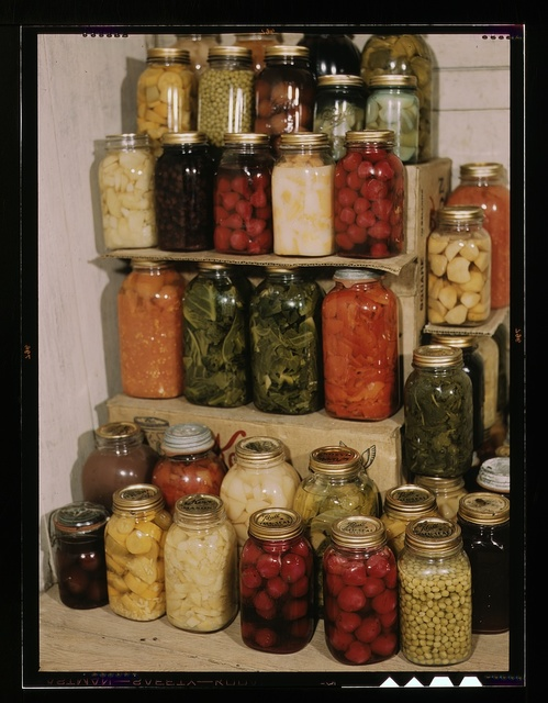 [Display of home-canned food]