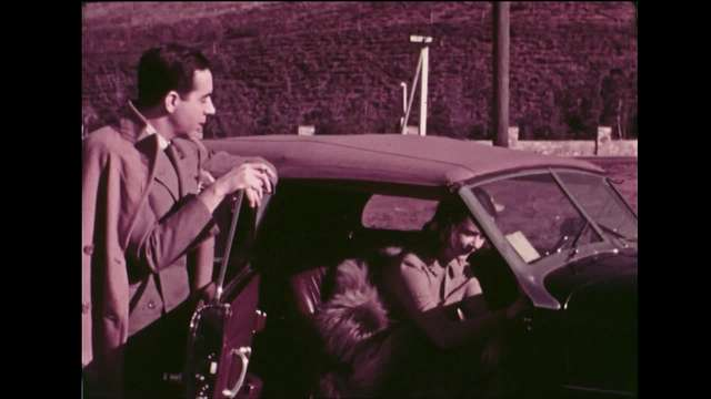 Dog and Couple Near Car--Ira Gershwin--Home Movies