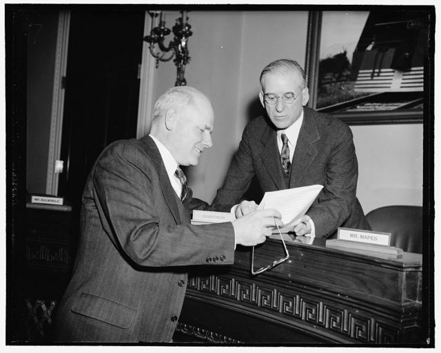 "$7,300,000 sought for training civilian pilots. Washington, D.C., March 20. Robert Hinkley, left, a member of the Civil Aeronautics Authority, today declared before the House Ways and Means Committee that the aggressor nations had ""Startled us into action"" as he sought for the CAA an appropriation of $7,300,000 for the training of civilian air pilots. He is shown with Rep. Clarence F. Lea Chairman of the Committee, 3-20-39"