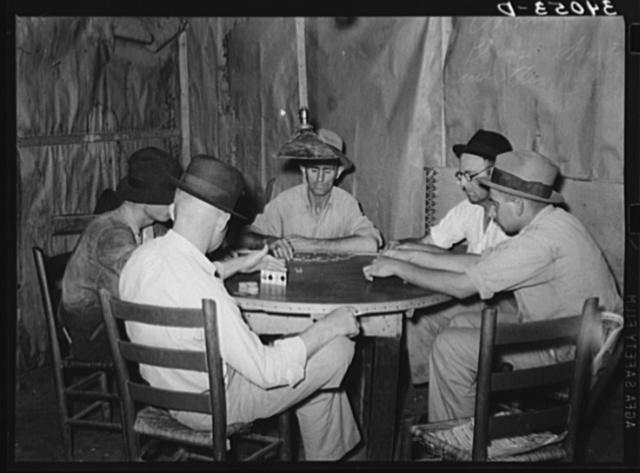 Domino players. Seminole oil field, Oklahoma