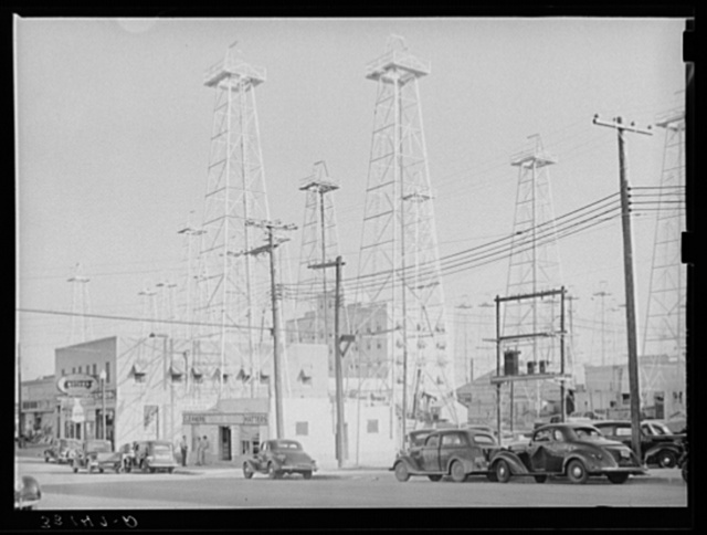 Downtown section of Kilgore, Texas, studded with oil derricks