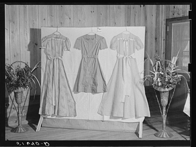Dresses made by home economics class which won first prize. Ashwood Plantations, South Carolina