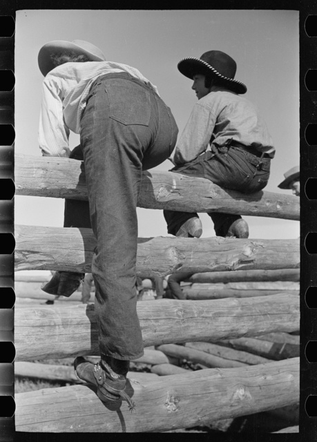 Dude girls on a corral fence, Montana