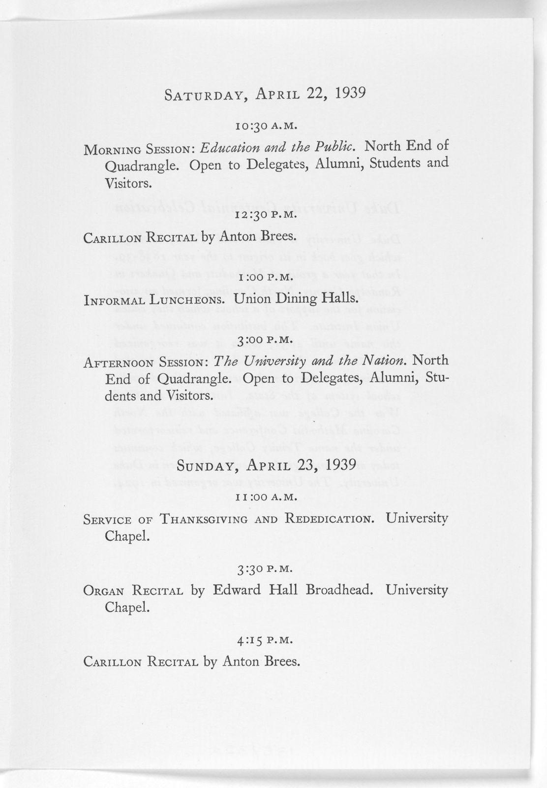 Duke University centennial celebration Trinity College- Duke University 1838-1839-1938-1939. Preliminary program of the centennial celebration April 21, 22 and 23, 1939. Durham, N. C. [1939].