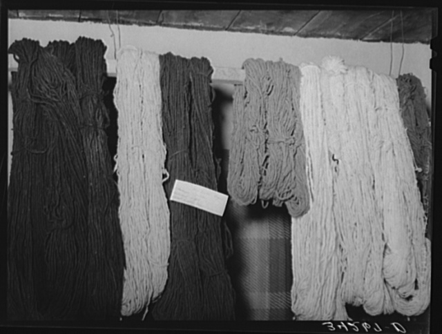 Dyed woolen skeins of thread at WPA (Works Progress Administration/Work Projects Administration) weaving project. Costilla, New Mexico