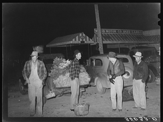 Early morning vegetable market. San Angelo, Texas. The farmers with their hands in their pockets show how cold the wind was