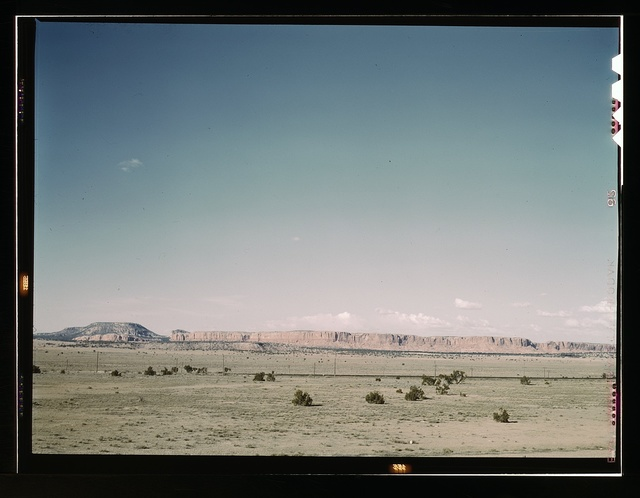 East bound track of the Santa Fe R.R. across desert country near South Chaves, N[ew] Mex[ico]