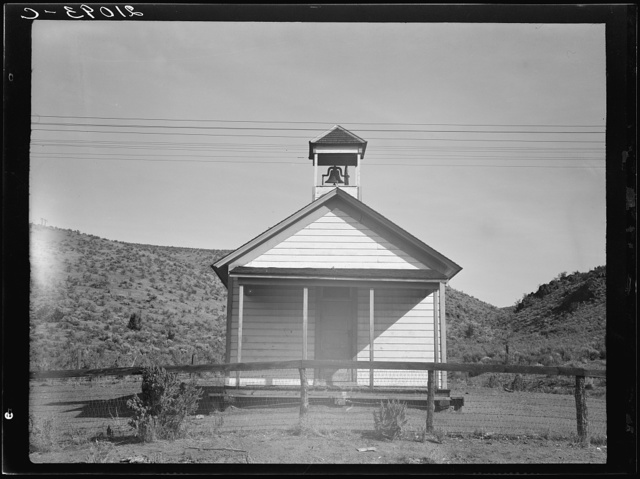 Eastern Oregon county school in sage bush clearing. Seven pupils enrolled. Baker County, Oregon