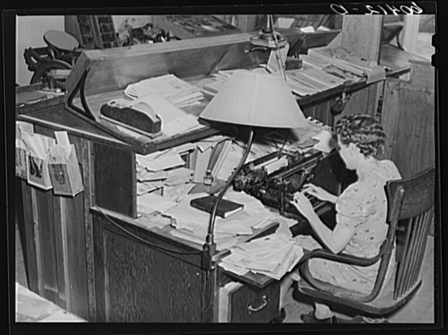 Editor of the Valley News at her desk. Browns Valley, Minnesota
