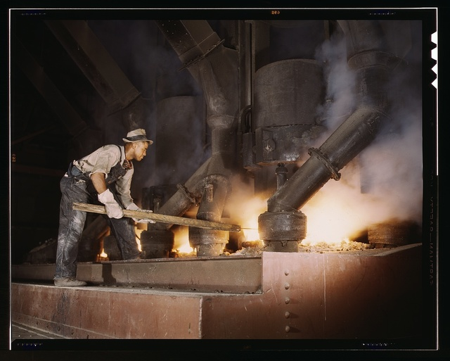 Electric phosphate smelting furnace used to make elemental phosphorus in a TVA chemical plant in the vicinity of Muscle Shoals, Alabama