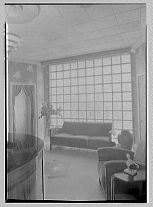 Emile's Beauty Shop, 82 N. Village Ave., Rockville Centre, Long Island. Detail of glass blocks window