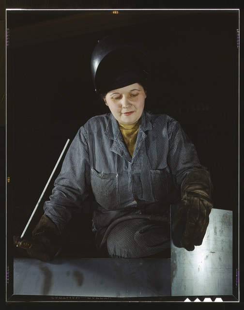 Enola O'Connell, age 32, widow and mother of one child. Ex-housewife, now [she is the] only woman welder at Heil and Co., Milwaukee, Wisconsin