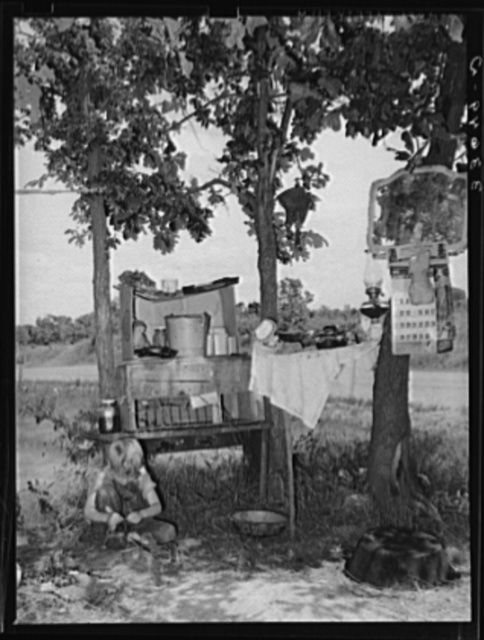 Family camped in the open near Spiro, Oklahoma. Sequoyah County
