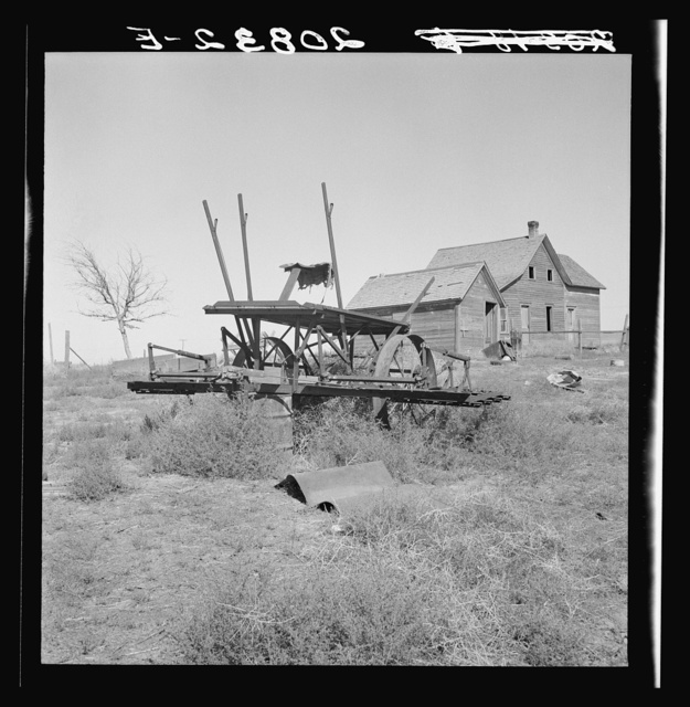 Farm machinery left on abandoned dry land farm in Columbia Basin. Washington, Grant County, one mile east of Quincy. See general caption number 35