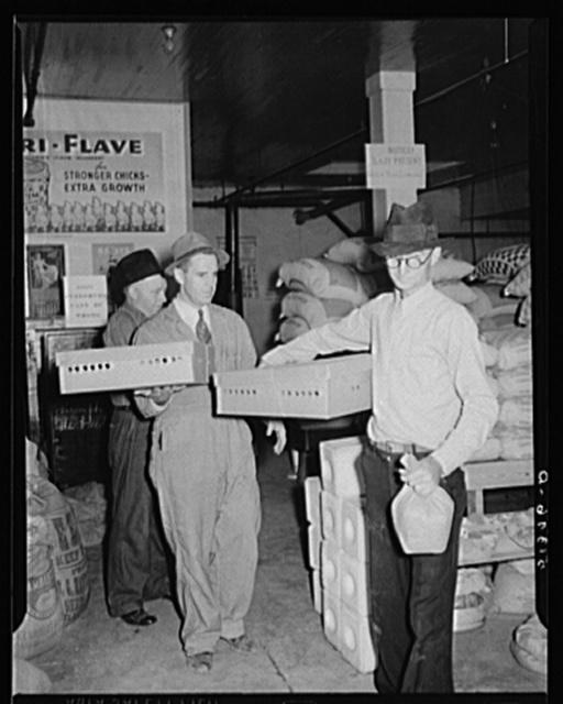 Farmer buying baby chicks, Farmers' exchange, Enterprise, Alabama