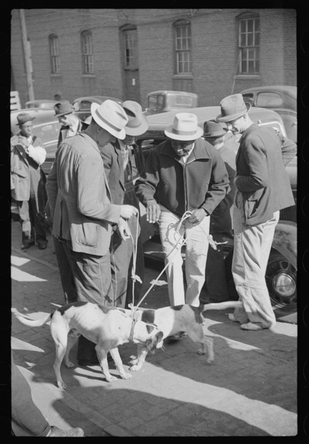 Farmer selling hound dogs outside tobacco warehouse during auction sales, Durham, North Carolina