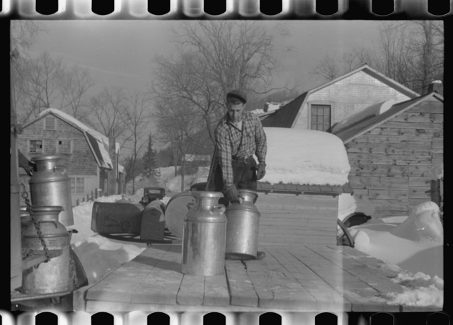 Farmers near Woodstock, Vermont, bring their cans of milk to the crossroads early every morning where it is picked up by the coop farmers' truck and is taken to the city