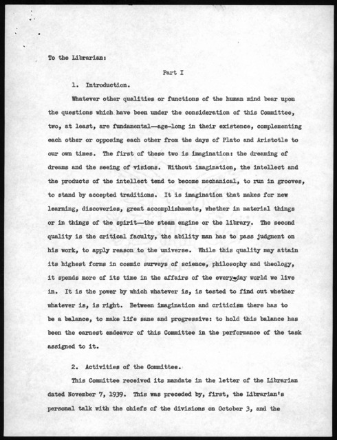 Final Report of the Committee on the Acquisition Policy of the Library of Congress, December 19, 1939