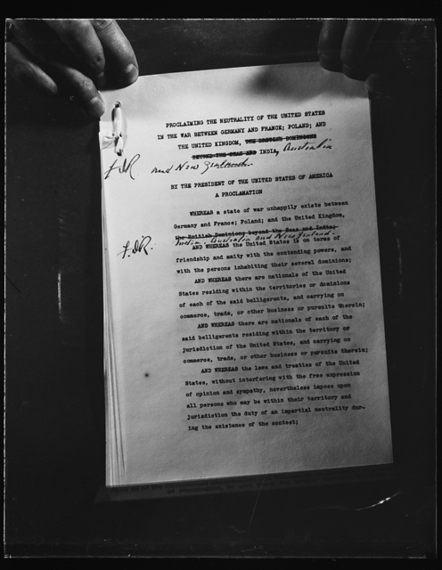 FIRST PAGE OF NEUTRALITY PROCLAMATION. WASHINGTON, D.C. SEPTEMBER 5. THE FIRST PAGE OF THE NEUTRALITY PROCLAMATION ISSUED BY PRESIDENT ROOSEVELT TODAY UNDER TERMS OF INTERNATIONAL LAW