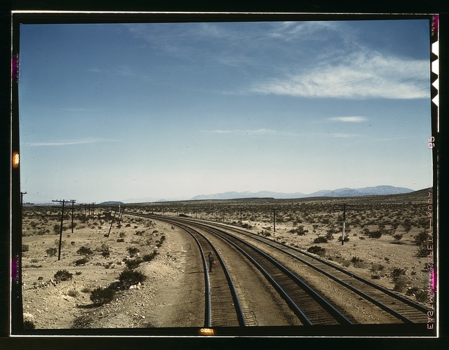 Flagman standing at a distance behind a Santa Fe R.R. west bound freight train during a stop, Bagdad, Calif.