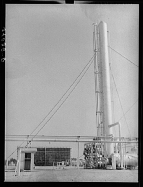 Fractionating tower. Oil refinery, Seminole, Oklahoma