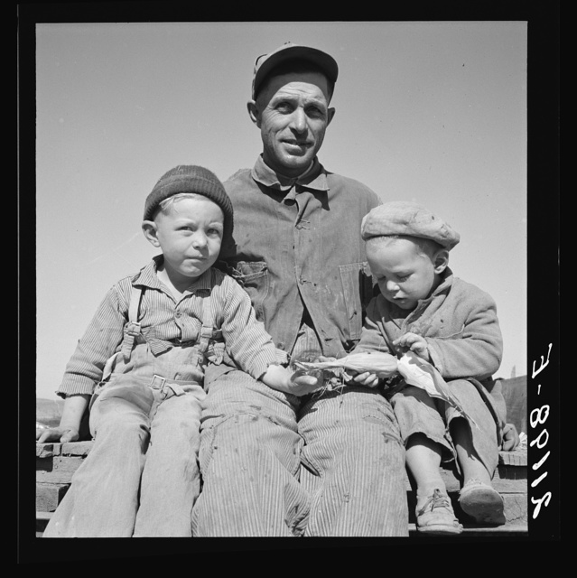 Franklin Schroeder, from South Dakota, and his two older boys. Dead Ox Flat, Malheur County, Oregon. General caption number 67-111